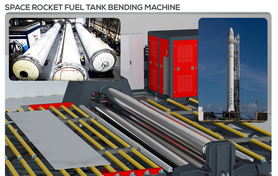 Space rocket fuel tank roll bending machine